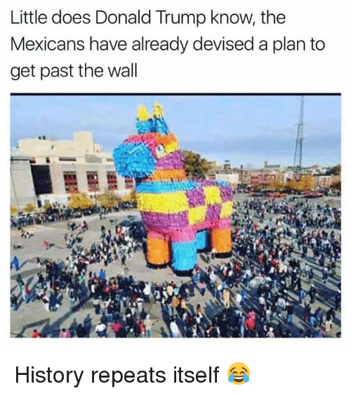 Donald Trump, Memes, and History: Little does Donald Trump know, the  Mexicans have already devised a plan to  get past the wall History repeats itself 😂