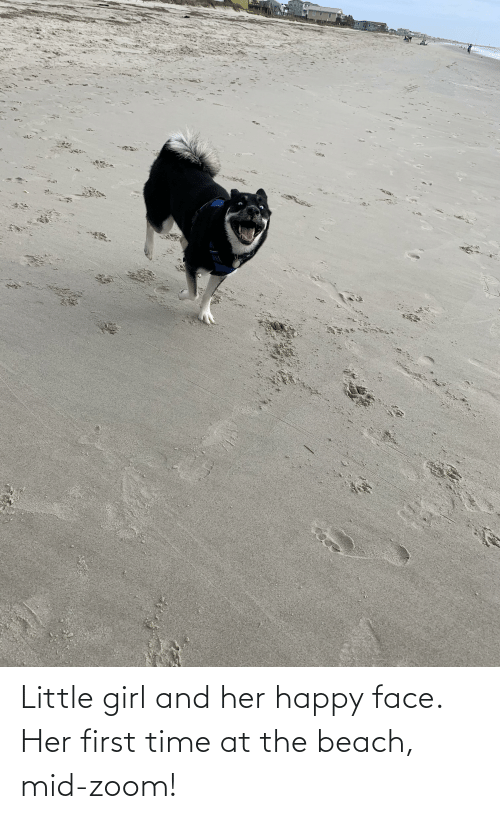 happy face: Little girl and her happy face. Her first time at the beach, mid-zoom!