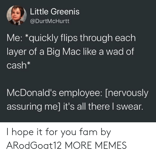 A Big Mac: Little Greenis  @DurtMcHurtt  Me: *quickly flips through each  layer of a Big Mac like a wad of  Cash*  McDonald's employee: [nervously  assuring me] it's all there I swear. I hope it for you fam by ARodGoat12 MORE MEMES