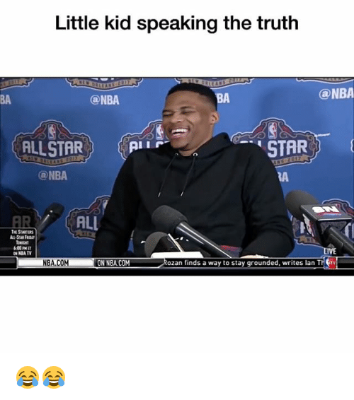 Ali, Funny, and Nba: Little kid speaking the truth  @NBA  ONBA  STAR  ALLSTAR  pi r  ONBA  ALI  THE STARTERS  NBA TV  Rozan finds a way to stay grounded, writes lan TH  NBACOM  ON NBA.COM 😂😂
