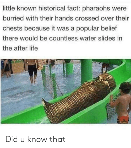 Slides In: little known historical fact: pharaohs were  burried with their hands crossed over their  chests because it was a popular belief  there would be countless water slides in  the after life Did u know that