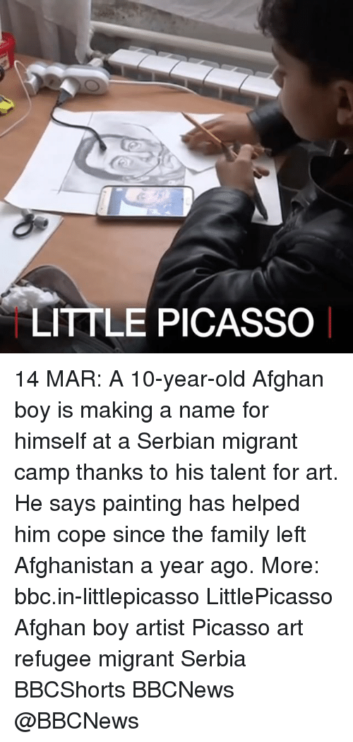 Serbian: LITTLE PICASSO 14 MAR: A 10-year-old Afghan boy is making a name for himself at a Serbian migrant camp thanks to his talent for art. He says painting has helped him cope since the family left Afghanistan a year ago. More: bbc.in-littlepicasso LittlePicasso Afghan boy artist Picasso art refugee migrant Serbia BBCShorts BBCNews @BBCNews