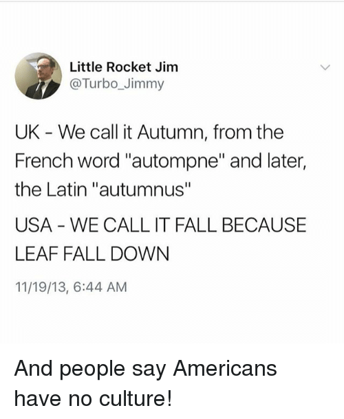 """Fall, Word, and Girl Memes: Little Rocket Jim  @Turbo_Jimmy  UK - We call it Autumn, from the  French word """"autompne"""" and later,  the Latin """"autumnus""""  USA WE CALL IT FALL BECAUSE  LEAF FALL DOWN  11/19/13, 6:44 AM And people say Americans have no culture!"""