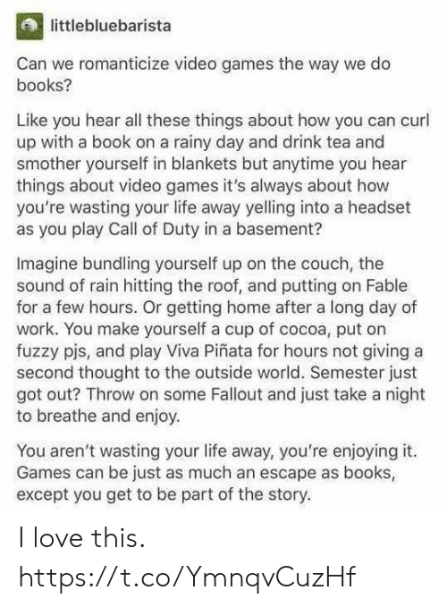 rainy: littlebluebarista  Can we romanticize video games the way we do  books?  Like you hear all these things about how you can curl  up with a book on a rainy day and drink tea and  smother yourself in blankets but anytime you hear  things about video games it's always about how  you're wasting your life away yelling into a headset  as you play Call of Duty in a basement?  Imagine bundling yourself up on the couch, the  sound of rain hitting the roof, and putting on Fable  for a few hours. Or getting home after a long day of  work. You make yourself a cup of cocoa, put on  fuzzy pjs, and play Viva Piñata for hours not giving a  second thought to the outside world. Semester just  got out? Throw on some Fallout and just take a night  to breathe and enjoy  You aren't wasting your life away, you're enjoying it.  Games can be just as much an escape as books  except you get to be part of the story. I love this. https://t.co/YmnqvCuzHf