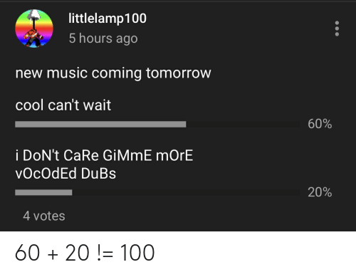 gimme more: littlelamp100  5 hours ago  new music coming tomorrow  cool can't wait  60%  i DoN't CaRe GiMmE mOrE  vOcOdEd DuBs  20%  4 votes 60 + 20 != 100