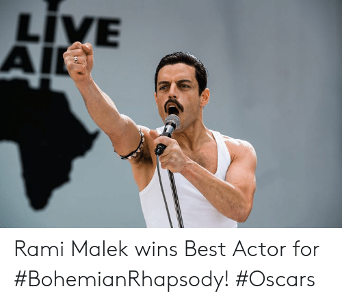 Oscars: LIVE  AI Rami Malek wins Best Actor for #BohemianRhapsody! #Oscars