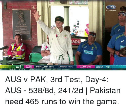 Test Day: LIVE AND FREE  ADE  upa  AZHAR 0/40 LEAD BY  464  US  41 HANDSCOMB. 40  KHAWAJA 79  980 AUS v PAK, 3rd Test, Day-4: AUS - 538/8d, 241/2d | Pakistan need 465 runs to win the game.