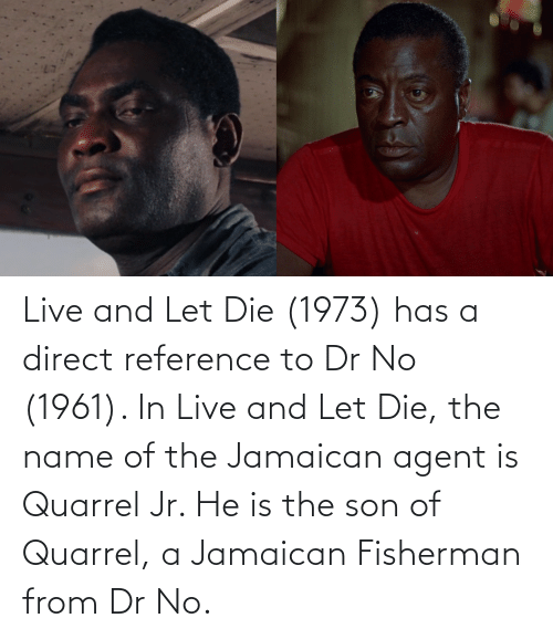 name of: Live and Let Die (1973) has a direct reference to Dr No (1961). In Live and Let Die, the name of the Jamaican agent is Quarrel Jr. He is the son of Quarrel, a Jamaican Fisherman from Dr No.