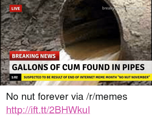 """internet meme: LIVE  br  eaKvOurOwnnews.com  BREAKING NEWS  GALLONS OF CUM FOUND IN PIPES  1:02  SUSPECTED TO BE RESULT OF END OF INTERNET MEME MONTH """"NO NUT NOVEMBER"""" <p>No nut forever via /r/memes <a href=""""http://ift.tt/2BHWkuI"""">http://ift.tt/2BHWkuI</a></p>"""