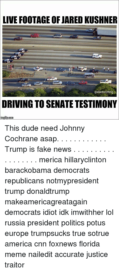 Florida Meme: LIVE FOOTAGE OF JARED KUSHNER  @electorotting  DRIVING  TO SENATE TESTIMONY This dude need Johnny Cochrane asap. . . . . . . . . . . . Trump is fake news . . . . . . . . . . . . . . . . . . merica hillaryclinton barackobama democrats republicans notmypresident trump donaldtrump makeamericagreatagain democrats idiot idk imwithher lol russia president politics potus europe trumpsucks true sotrue america cnn foxnews florida meme nailedit accurate justice traitor