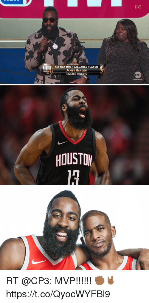 Houston Rockets, James Harden, and Memes: LIVE  KIA NBA MOST VALUABLE PLAYER  JAMES HARDEN  HOUSTON ROCKETS  AWARDS  eNBAAwards   HOUSTOM RT @CP3: MVP!!!!!! ✊🏾🤘🏾 https://t.co/QyocWYFBl9