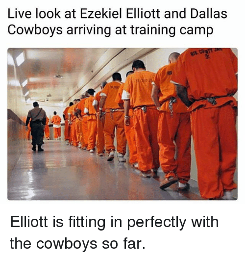 Dallas Cowboys, Memes, and Dallas Cowboys: Live look at Ezekiel Elliott and Dallas  Cowboys arriving at training camp Elliott is fitting in perfectly with the cowboys so far.