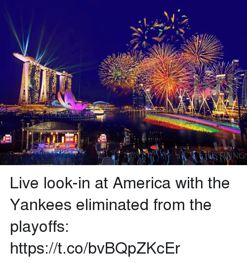 America, Sports, and New York Yankees: Live look-in at America with the Yankees eliminated from the playoffs: https://t.co/bvBQpZKcEr
