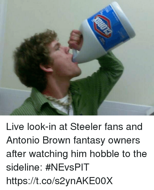 Sports, Live, and Antonio Brown: Live look-in at Steeler fans and Antonio Brown fantasy owners after watching him hobble to the sideline: #NEvsPIT https://t.co/s2ynAKE00X