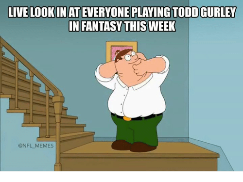 Memes, Nfl, and Live: LIVE LOOKIN AT EVERYONE PLAYING TODD GURLEY  IN FANTASYTHISWEEK  @NFL MEMES