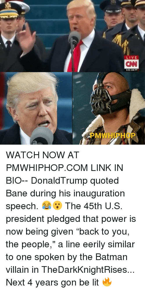 "batman villains: LIVE  ON  903AM PT  M  P WATCH NOW AT PMWHIPHOP.COM LINK IN BIO-- DonaldTrump quoted Bane during his inauguration speech. 😂😮 The 45th U.S. president pledged that power is now being given ""back to you, the people,"" a line eerily similar to one spoken by the Batman villain in TheDarkKnightRises... Next 4 years gon be lit 🔥"