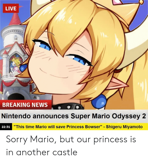 "Bowser: LIVE  titi: mi  BREAKING NEWS  Nintendo announces Super Mario Odyssey 2  22:31  ""This time Mario will save Princess Bowser"" - Shigeru Miyamoto Sorry Mario, but our princess is in another castle"