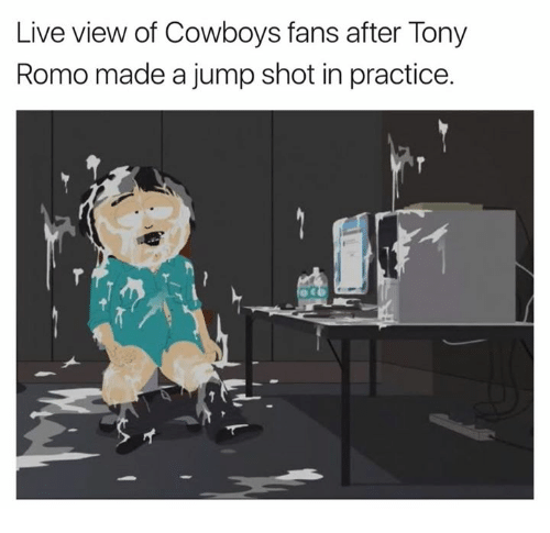 romos: Live view of Cowboys fans after Tony  Romo made a jump shot in practice.