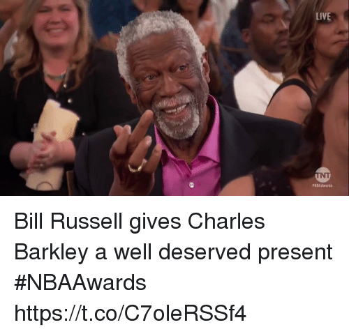 Sports, Charles Barkley, and Live: LIVE  WNBAAwards Bill Russell gives Charles Barkley a well deserved present #NBAAwards  https://t.co/C7oleRSSf4