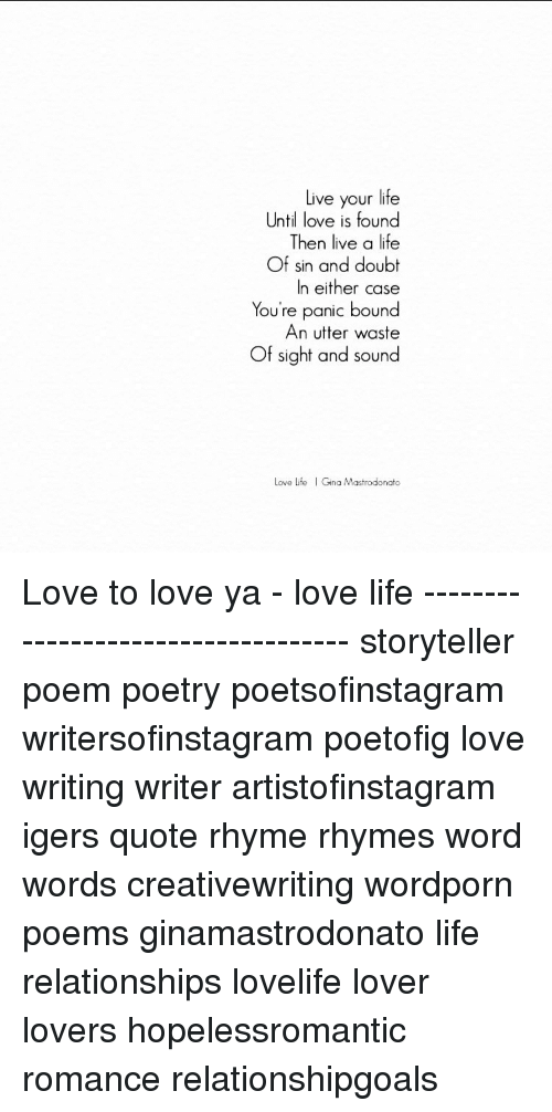 Love life poems for the of your Love Life