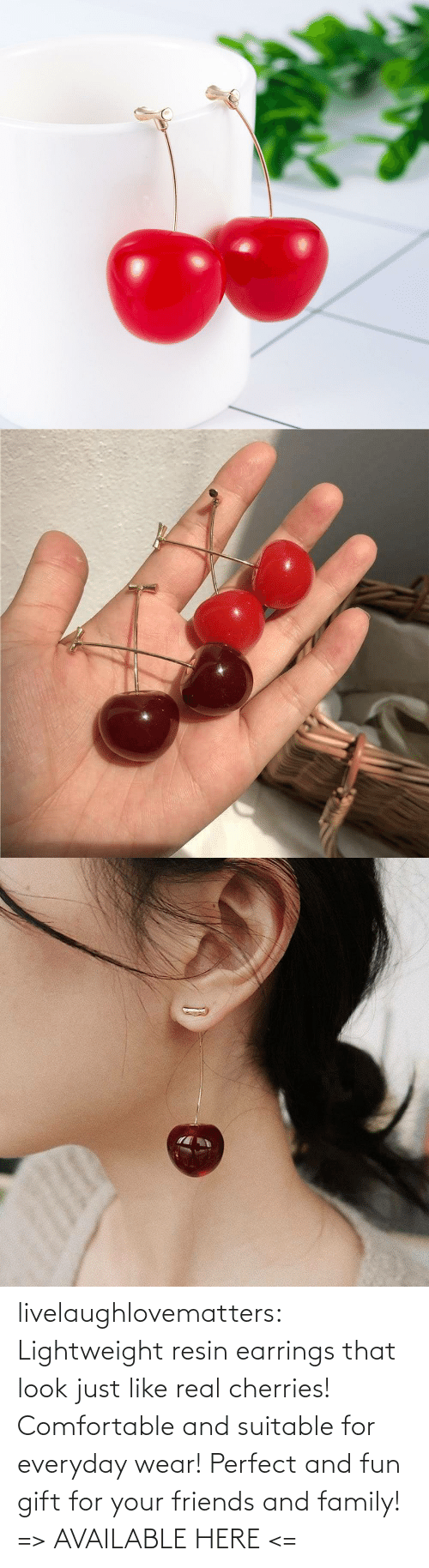 realistic: livelaughlovematters: Lightweight resin earrings that look just like real cherries! Comfortable and suitable for everyday wear! Perfect and fun gift for your friends and family! => AVAILABLE HERE <=