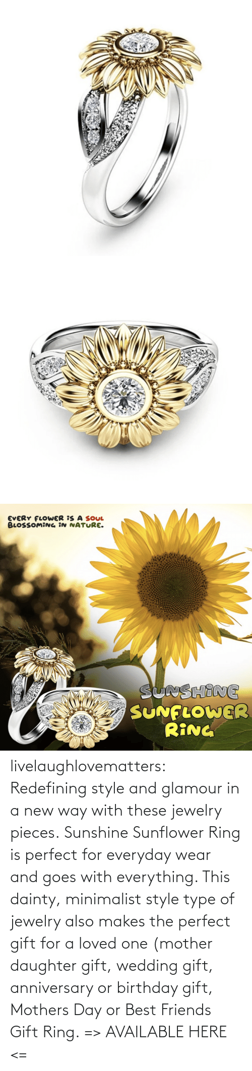 ring: livelaughlovematters: Redefining style and glamour in a new way with these jewelry pieces. Sunshine Sunflower Ring is perfect for everyday wear and goes with everything. This dainty, minimalist style type of jewelry also makes the perfect gift for a loved one (mother daughter gift, wedding gift, anniversary or birthday gift, Mothers Day or Best Friends Gift Ring. => AVAILABLE HERE <=