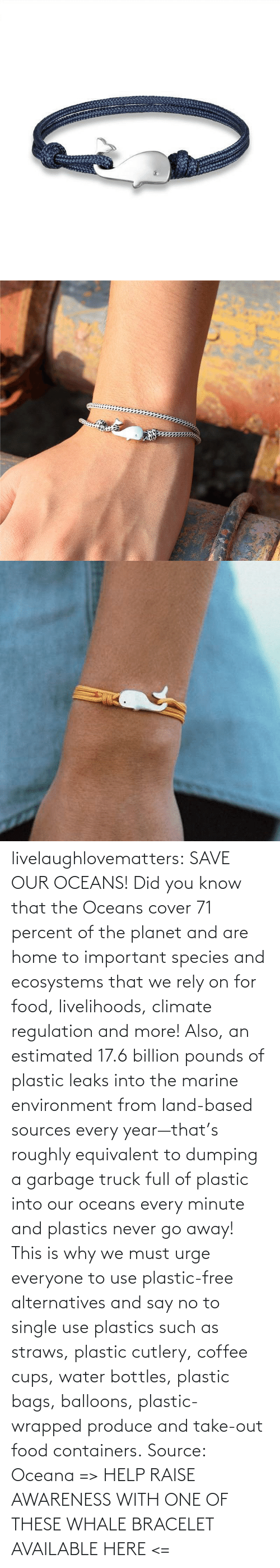 did you know: livelaughlovematters:  SAVE OUR OCEANS!  Did you know that the Oceans cover 71 percent of the planet and are home to important species and ecosystems that we rely on for food, livelihoods, climate regulation and more! Also, an estimated 17.6 billion pounds of plastic leaks into the marine environment from land-based sources every year—that's roughly equivalent to dumping a garbage truck full of plastic into our oceans every minute and plastics never go away! This is why we must urge everyone to use plastic-free alternatives and say no to single use plastics such as straws, plastic cutlery, coffee cups, water bottles, plastic bags, balloons, plastic-wrapped produce and take-out food containers. Source: Oceana => HELP RAISE AWARENESS WITH ONE OF THESE WHALE BRACELET AVAILABLE HERE <=
