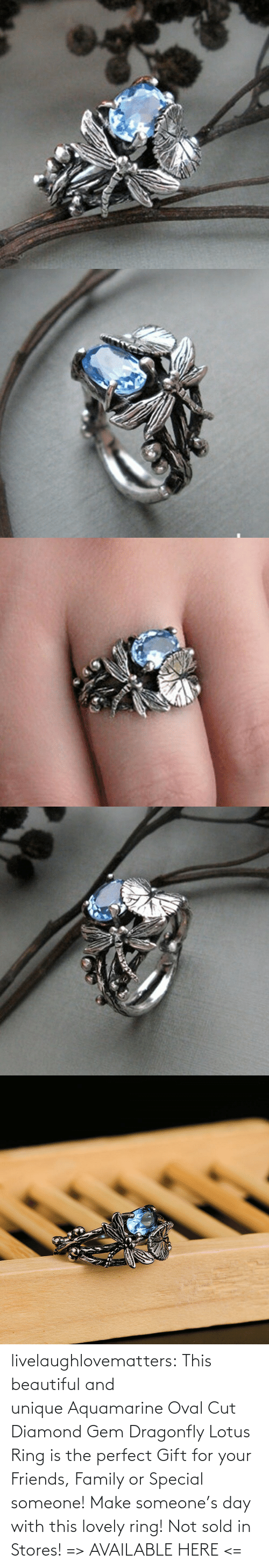 Sold: livelaughlovematters: This beautiful and uniqueAquamarine Oval Cut Diamond Gem Dragonfly Lotus Ring is the perfect Gift for your Friends, Family or Special someone! Make someone's day with this lovely ring! Not sold in Stores! => AVAILABLE HERE <=