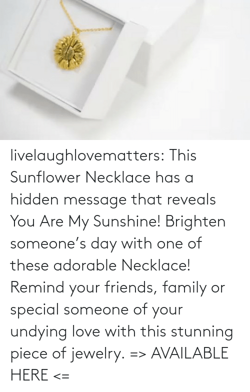 Necklace: livelaughlovematters:  This Sunflower Necklace has a hidden message that reveals You Are My Sunshine! Brighten someone's day with one of these adorable Necklace! Remind your friends, family or special someone of your undying love with this stunning piece of jewelry. => AVAILABLE HERE <=
