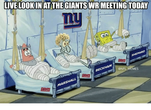 Memes, Nfl, and Beck: LIVELOOKINAT THE GIANTS WR MEETING TODAY  SHE  GIANTS  BECK  @NFL MEMES  CIANTS  SHA  CIANTS