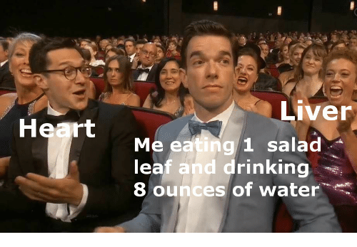 ounces: Liver  Heart  Me eating 1 salad  leaf and drinking  8 ounces of water.