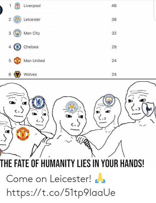 Leicester: Liverpool  46  Leicester  38  Man City  3  32  Chelsea  4  29  Man United  6 Wolves  24  TNCHESTE  EI K CITY  CITY  COFBALL C  OTBALL  CL  STER  ANCH  UNITED  THE FATE OF HUMANITY LIES IN YOUR HANDS!  24  2. Come on Leicester! 🙏 https://t.co/51tp9IaaUe