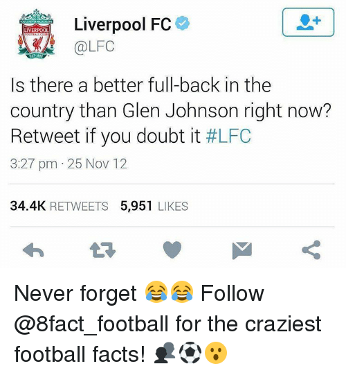 fc liverpool: Liverpool FC  LIVERPOOL  Is there a better full-back in the  country than Glen Johnson right now?  Retweet if you doubt it  #LFC  3:27 pm 25 Nov 12  34.4K  RETWEETS  5.951  LIKES Never forget 😂😂 Follow @8fact_football for the craziest football facts! 👥⚽️😮