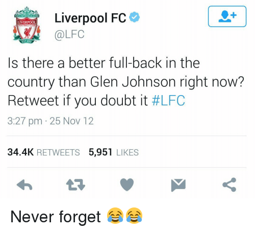 fc liverpool: Liverpool FC  LIVERPOOL  OOTBALL CLUB  @LFC  EST 1892  Is there a better full-back in the  country than Glen Johnson right now?  Retweet if you doubt it  #LFC  3:27 pm 25 Nov 12  34.4K  RETWEETS  5.951  LIKES Never forget 😂😂
