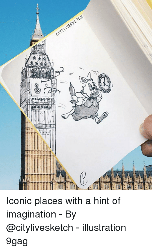 9gag, Memes, and Iconic: LIVESKETCH  CITY  G I Iconic places with a hint of imagination - By @citylivesketch - illustration 9gag
