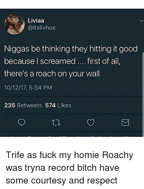 Bitch, Homie, and Memes: Liviaa  @itslivhoe  Niggas be thinking they hitting it good  because l screamed.... first of all  there's a roach on your wall  10/12/17, 5:54 PM  235 Retweets 574 Likes Trife as fuck my homie Roachy was tryna record bitch have some courtesy and respect