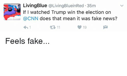 Memes, 🤖, and Fakings: Living Blue  a Living BlueinRed 35m  If I watched Trump win the election on  CNN  does that mean it was fake news? Feels fake...