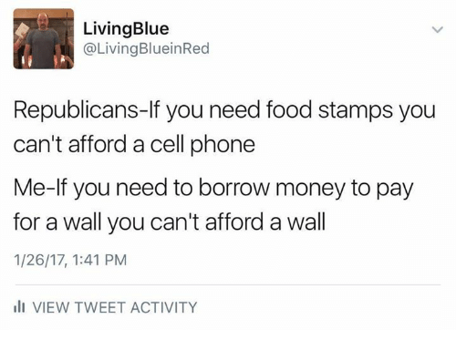 Need Food: Living Blue  @Living BlueinRed  Republicans-If you need food stamps you  can't afford a cell phone  Me-lf you need to borrow money to pay  for a wall you can't afford a wall  1/26/17, 1:41 PM  III VIEW TWEET ACTIVITY