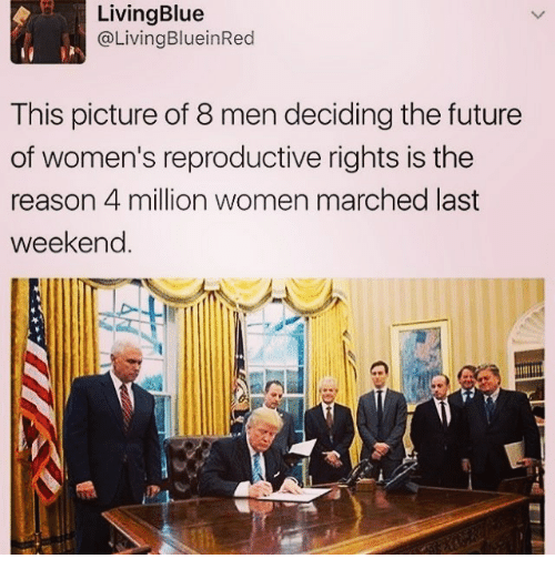 Women March: Living Blue  Living BlueinRed  This picture of 8 men deciding the future  of women's reproductive rights is the  reason 4 million women marched last  weekend