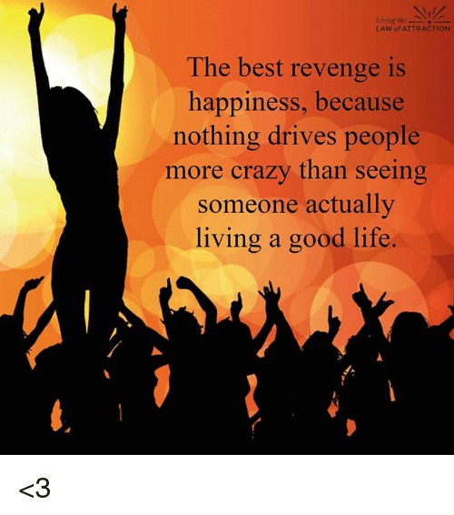 Memes, Revenge, and 🤖: living the  LAW of ATTRACTION  The best revenge is  happiness, because  nothing drives people  more crazy than seeing  someone actually  living a good life. <3