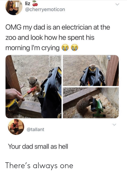 Electrician: liz  @cherryemoticon  OMG my dad is an electrician at the  zoo and look how he spent his  morning I'm crying  ASPECIAL  @tallant  Your dad small as hell There's always one