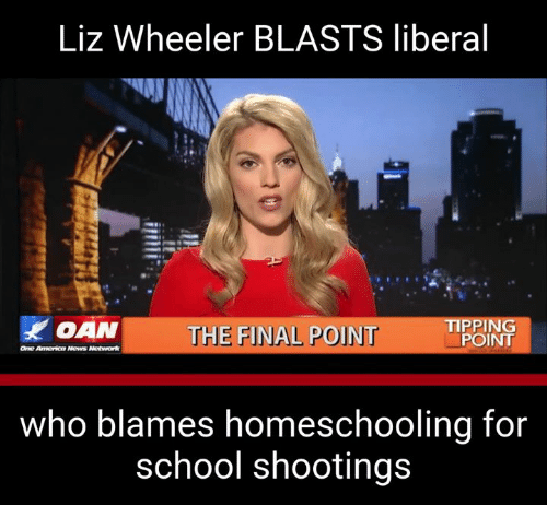 Memes, School, and 🤖: Liz Wheeler BLASTS liberal  AN  THE FINAL POINT  TIPEING  who blames homeschooling for  school shootings
