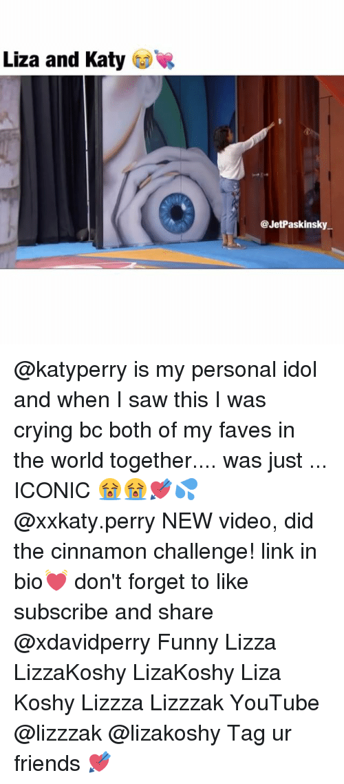 Liza Koshy: Liza and Katy  @JetPaskinsky @katyperry is my personal idol and when I saw this I was crying bc both of my faves in the world together.... was just ... ICONIC 😭😭💘💦 @xxkaty.perry NEW video, did the cinnamon challenge! link in bio💓 don't forget to like subscribe and share @xdavidperry Funny Lizza LizzaKoshy LizaKoshy Liza Koshy Lizzza Lizzzak YouTube @lizzzak @lizakoshy Tag ur friends 💘