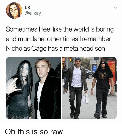 World, Dank Memes, and Nicholas Cage: LK  @ellkay_  Sometimes I feel like the world is boring  and mundane, other times l remember  Nicholas Cage has a metalhead son Oh this is so raw