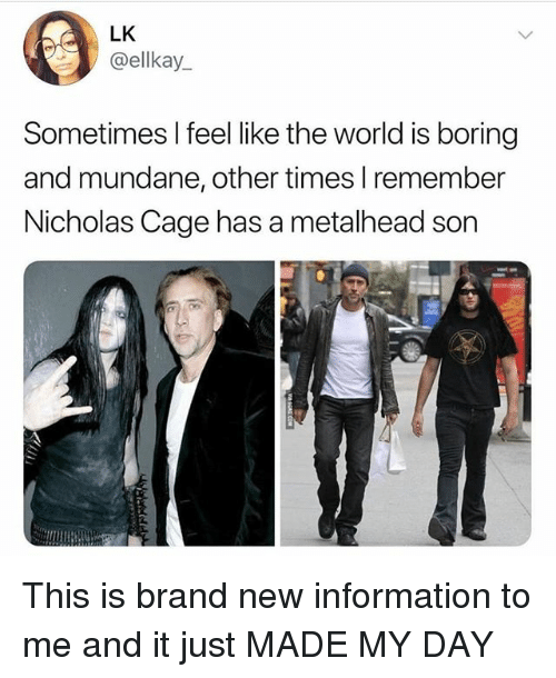 metalhead: LK  ellkay.  Sometimes I feel like the world is boring  and mundane, other times lremember  Nicholas Cage has a metalhead son This is brand new information to me and it just MADE MY DAY