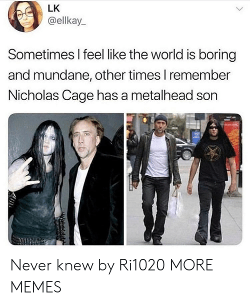 metalhead: LK  @ellkay  Sometimes I feel like the world is boring  and mundane, other times I remember  Nicholas Cage has a metalhead son  守 Never knew by Ri1020 MORE MEMES