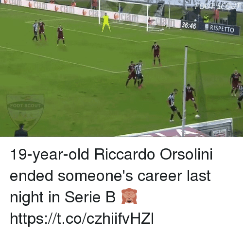 scouting: LL 136:46  RISPETTO  FOOT SCOUT 19-year-old Riccardo Orsolini ended someone's career last night in Serie B 🙈   https://t.co/czhiifvHZl