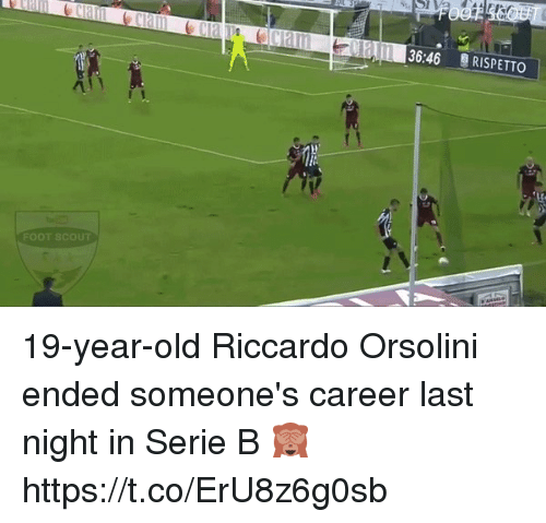 scouting: LL 136:46  RISPETTO  FOOT SCOUT 19-year-old Riccardo Orsolini ended someone's career last night in Serie B 🙈 https://t.co/ErU8z6g0sb