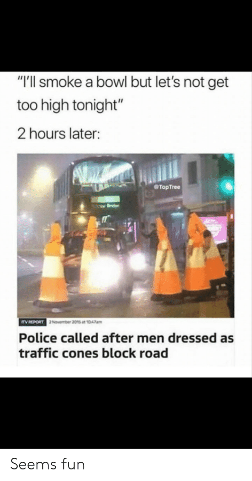 "Too High: ""'ll smoke a bowl but let's not get  too high tonight""  2 hours later:  @TopTree  November 2015 at 1047am  Police called after men dressed as  traffic cones block road Seems fun"