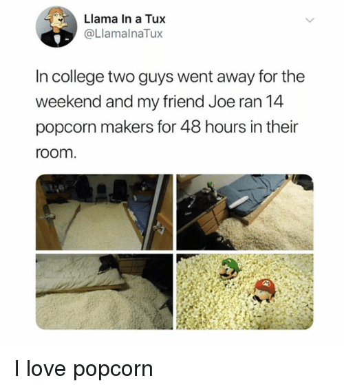 College, Love, and Popcorn: Llama In a Tux  @LlamalnaTux  In college two guys went away for the  weekend and my friend Joe ran 14  popcorn makers for 48 hours in their  room. I love popcorn